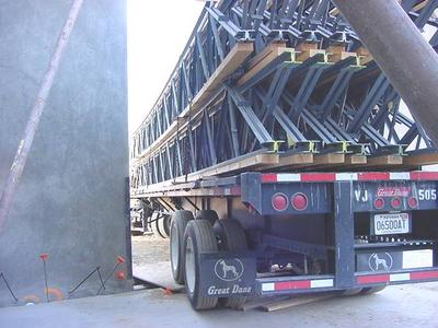 delivering a load of trusses