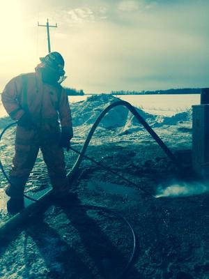 Hydrovacing in -49F Fort McMurray, Alberta Canada